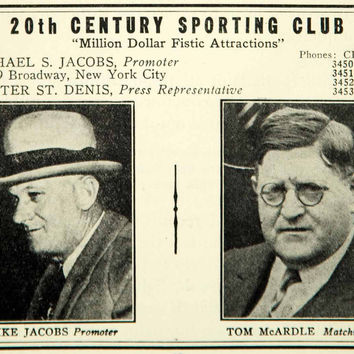 1936 Ad 20th Century Sporting Club Mike Jacobs Tom McArdle 1619 Broadway YPBR1
