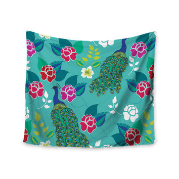 """Anneline Sophia """"Mexican Peacock"""" Teal Rainbow Wall Tapestry"""