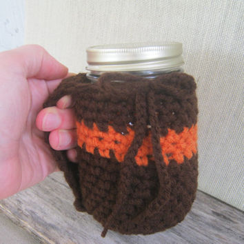 Autumn Crocheted Mug Holder with Handle. Brown and Orange Reduce your Impact, Kerr and Mason Jar Pint Size