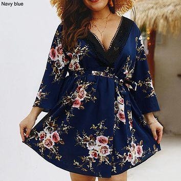 Large size women's 2019 summer new print V-neck dress Navy blue
