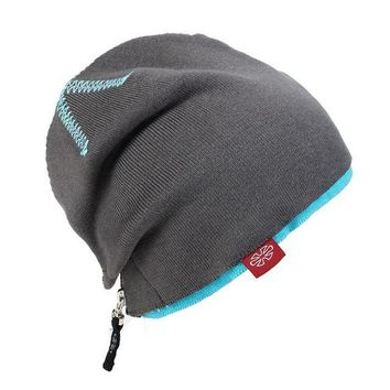 Double Layer Warm BEANIES for Snow Ski Knitted Hat Zipper Punk Style Skating Caps