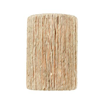 Abaca 2-Light Sconce in Satin Brass with Abaca Rope