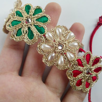 Lace bracelet golden, green, and red color, lightweight, flower pattern, red cord tie, party, bridesmaid.