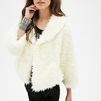FOREVER 21 Shawl-Collar Faux Fur Jacket Cream