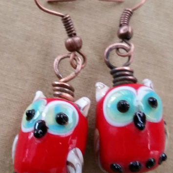 Bright Red Owl Earrings