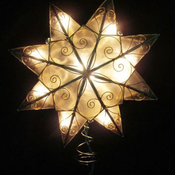 Christmas Tree Topper - Lighted 8-point Gold Star