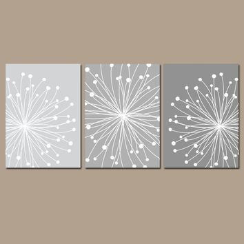 DANDELION Wall Art, CANVAS or Prints, Gray Ombre, Bedroom Pictures, Bathroom Decor, Flower Dandelion, Set of 3, Home Decor Wall Decor