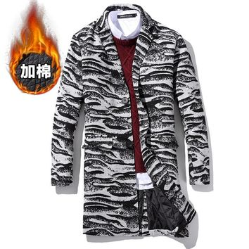 2016 Men Winter Thick Warm Long Plaid Woolen Coats Wool & Blends New Fashion Male Zebra pattern Outwear Long Jackets Size5XL