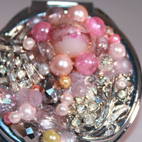 Compact Mirror - Vintage Jeweled Compact Mirror