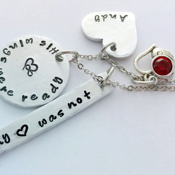 """His, Hers Wings Were Ready My Heart Was Not""  Necklace by Bling Chicks"