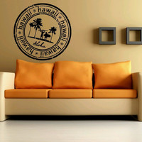 Room Wall Decor Vinyl Sticker Room Decal Art Design Aloha Hawaii Round Stamp Beach Palm 858