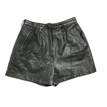Vintage 80's 90's Black Real Leather High Waist Shorts - Xsmall to Small