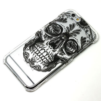 Black Sugar Skull Dia De Los Muertos Transparent Clear Phone Case iPhone 6, 7, SE, 6 Plus, 7 Plus, 6S, 5, 5S, Galaxy S6, S7, Note 5, Note 7