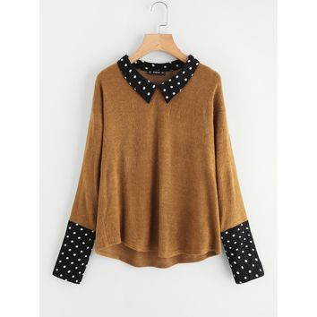 Contrast Polka Dot Collar And Cuff Tee Brown