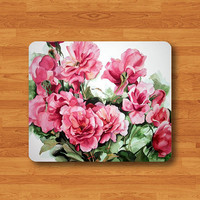 Drawing Rose Flower Floral Mouse Pad Love Nature Printed Rubber MousePad For Girl Desk Deco Work Pad Mat Rectangle Personal Gift Valentine