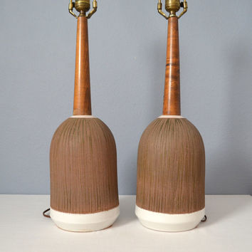 Pair of Large Mid Century Early Bitossi Lamps with Sgraffito Decor and Wood Necks