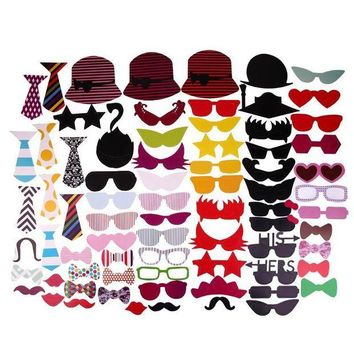 ONETOW 76pcs Glasses and Mustache Type Photo Prop Decal for Party Birthday Wedding Christmas Creative Funny Party Supplies