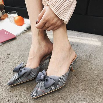 Women Fashion Pointy Toe Bow Check Stiletto Kitten Heels Slippers Mules Shoes