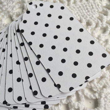 Polka Dot Paper Tags, Black and White Gift Tags, Bridal Shower Favor Tags - Set of 20