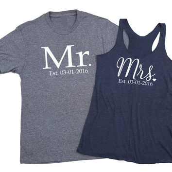 MR and MRS, mr and mrs shirts, newlywed gift, wedding gift, bridal shower, bride and groom, custom mr and mrs, honeymoon