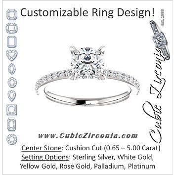 Cubic Zirconia Engagement Ring- The Geraldine Lea (Customizable Cushion Cut with Delicate Pavé Band)