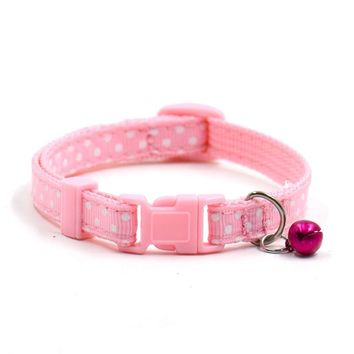 1Pcs Adjustable Pet Dog Cat Collar Cute Polka Dots  With Bell Puppy Kitten Neck Strap Chain Collar