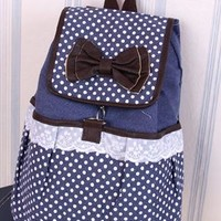 Cute Dot Bowknot Lace Canvas Backpack-blue from styleonline