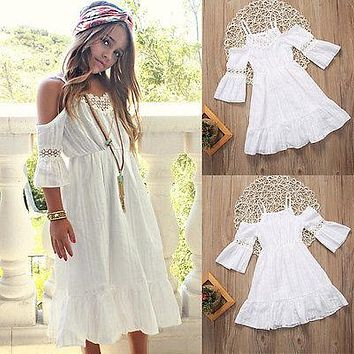 Cute Girl Kids Princess Vintage Lace Off Shoulder Dress White Short Sleeve Strap Wedding Party Pageant Dresses Beach Clothes
