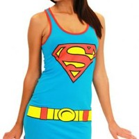 DC Comics Supergirl Juniors Blue Tank Top Dress - Tank Dress Outfits - | TV Store Online