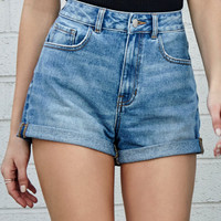 Bullhead Denim Co. Marine Blue Cuffed Mom Denim Shorts at PacSun.com