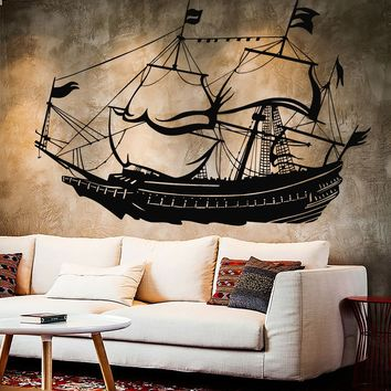Vinyl Wall Decal Nautical Sailor Sail Ship Brig Boat Stickers Unique Gift (806ig)