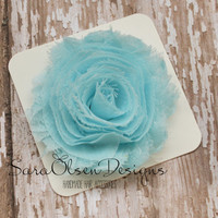 Rosette Hair Clip, Light Blue Rosette, Frayed Chiffon Hairclip, Children's Hair Accessories, Toddler Hairclip, Girls Bow, Flower Hairclip