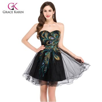 Black Embroidery Peacock Dress Short Prom Dresses 2017 Mini Homecoming Ball Gown Party Dress for graduation Masquerade Dresses