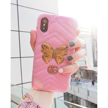Gucci Stylish Velvet iPhone 6 plus iPhone X Butterfly Pattern iPhone Shell Couple Phone Case(6-Color) Pink