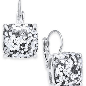 kate spade new york Silver-Tone Glitter Stone Square Stud Earrings - Jewelry & Watches - Macy's