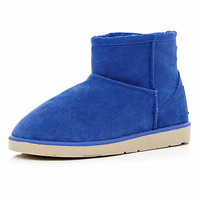 Bright blue faux fur lined boots