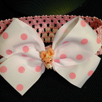 Cute Bunny Pink Polka Dot Hair Bow on Stretch Headband - Kawaii Hair Bow - Bunny Rabbit