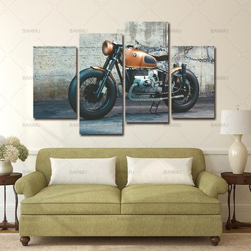 Canvas painting  4 Panel Large Modern Printed New England Patriots Motorcycle Oil Painting Picture Decoracion Canvas Wall Art