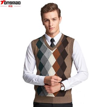 Autumn Men's Business Wool V-neck Sleeveless Knitted Vest Fashion Casual Argyle High Quality Slim Sweater