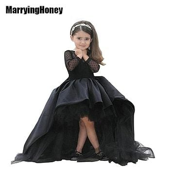 High Low Bubble Girls Formal Gowns Florwer Girl Dress with Long Sleeve Kids Pageant Princess Ball Gown Satin vestido de daminha