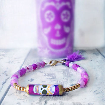 Purple skull bracelet, skull tassel bracelet, beaded skull bracelet, purple gold skull bracelet, day of the dead bracelet