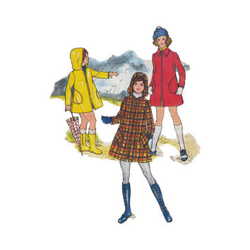 "1970s Butterick 3311 Girls' Coat, Rain Coat Size 10 || Chest 28 1/2""/72cm 