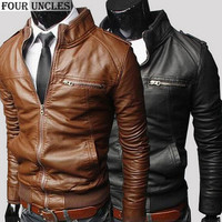 Men's Leather Casual Winter Fashion Zipper Slim Faux Leather Motorcycle Jacket
