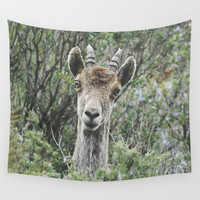 """Hello"". Ibex. Retro wildlife. Wall Tapestry by Guido Montañés"