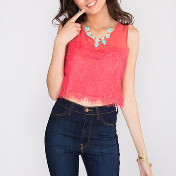 In Harmony Lace Crop Top - Coral