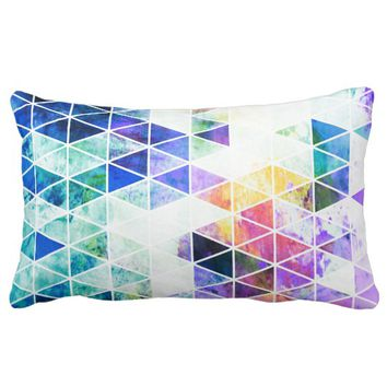 Grungy Bright Triangle Pattern Lumbar Pillow