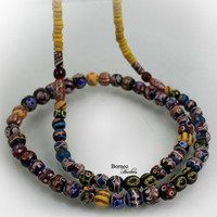 "Beads Necklace From Borneo.NEW BEADS.Tribal Dayak Ethnic Handmade Glass Bead,Currency Trade Beads,Colorful Beads/17.5""Long/3.75oz(Pattern#2)"