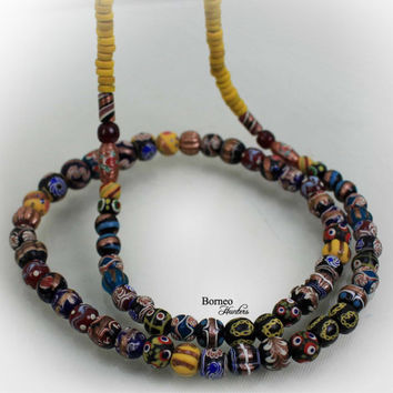 """Beads Necklace From Borneo.NEW BEADS.Tribal Dayak Ethnic Handmade Glass Bead,Currency Trade Beads,Colorful Beads/17.5""""Long/3.75oz(Pattern#2)"""