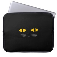 Funny cute Cool Black Cartoon Cat Face Computer Sleeves