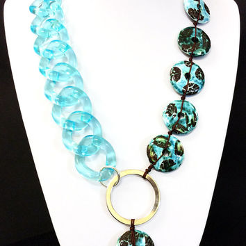 Statement necklace, Acrylic chain and ceramic disks necklace, turquoise and brown necklace, womens gift, jewelry